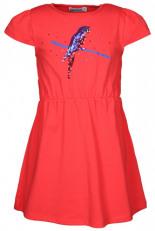 Jersey-Kleid PAPAGEI mit Pailletten Koralle