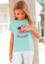 T-Shirt HELLO SUMMER mit Wendepaillettenmotiv
