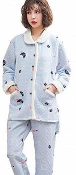 Umstandspyjama Verdicken Gesteppte Schwangerschaft Nachtwäsche Winter Warm Drucken Still Schlafanzug