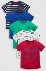 T-Shirts mit Fahrzeugen Fünferpack Teilig
