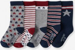 5er-Pack Socken Sterne Bordeaux von