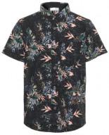 Kurzärmeliges Blattprint Hemd