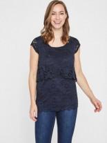 Spitzen- Still-Bluse mit Kurzen Ärmeln