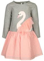 Langarm-Kleid LISKA mit Tüll-Besatz Melange