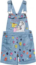 Bibi Tina Jeans-Latzhose mit Rüsche Light Denim Kleinkinder