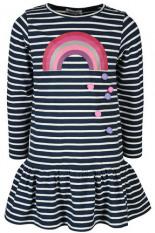Langarm-Kleid RAINBOW Gestreift mit Pompons