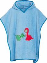 Badeponcho Dino mit Kapuze Bademantel Bleu One size